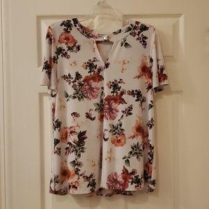 Short Sleeve Flower Blouse